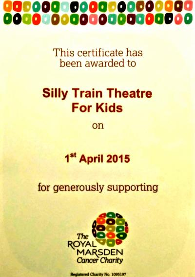 Royal Marsden Hospital Certificate of Thanks - Silly Train Theatre